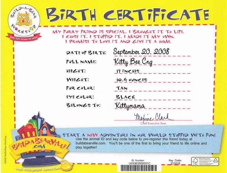 build a bear birth certificate template kittymania okasaneko chronicles page 12