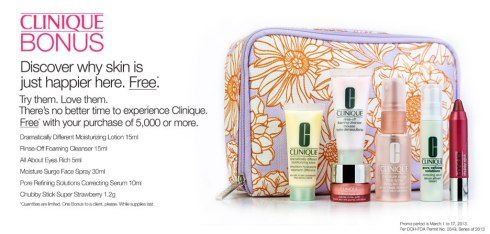 Clinique bonus time March 2013